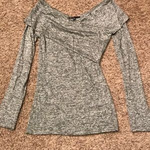 Long Sleeve Soft Top, Gray, Small